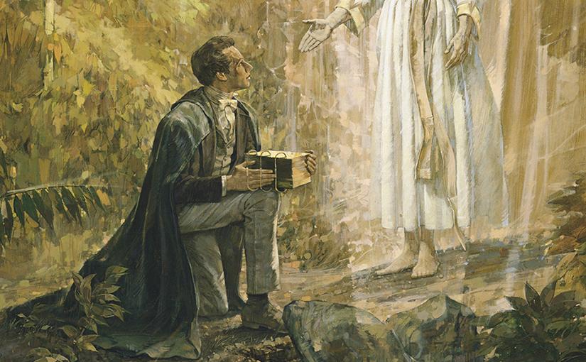 O anjo Moroni entrega as tabuas à José